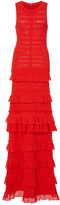 Oscar de la Renta Sleeveless Jewel Neck Tiered Ruffle Gown