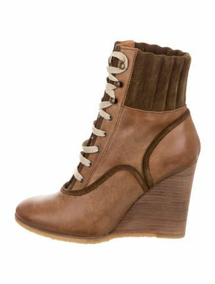 Chloé Leather Wedge Booties Brown
