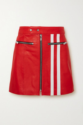 The Mighty Company The Ferrara Striped Leather Skirt - Red