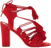 Loeffler Randall Luz Suede Lace-Up Tassel Sandals