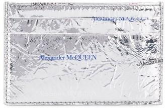 Alexander McQueen Logo Print Metallic Cardholder