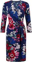 Adrianna Papell 3/4 sleeve leaf print wrap dress