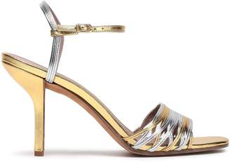 Diane von Furstenberg Federica Two-tone Metallic Leather Sandals