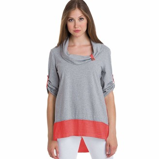 Neon Buddha Women's Comfy Cotton Tunic Top Female Long Blouse 3/4 Sleeves Cowl Neck and Contrast Hems
