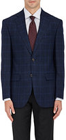 Piattelli MEN'S WINDOWPANE-CHECKED WOOL TWO-BUTTON SPORTCOAT-NAVY SIZE 40 R