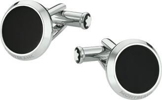 Montblanc Stainless Steel and Onyx Meisterstuck Cufflinks