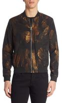 The Kooples Leaf Printed Bomber Jacket