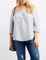 Charlotte Russe Plus Size Striped Off-The-Shoulder Top