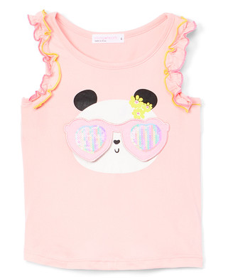 Young Hearts Girls' Tank Tops PINK - Pink Panda Glasses Sequin Ruffle Tank - Toddler & Girls
