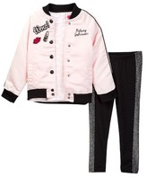 Betsey Johnson Lip Print Tee, Satin Bomber & Sparkle Trim Legging Set (Little Girls)