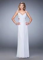 La Femme 22304 Ruched V-neck Column Dress