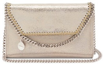 Stella McCartney New Falabella Mini Faux-suede Shoulder Bag - Gold