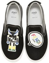 Fendi Monster Suede & Mesh Slip-On Sneakers