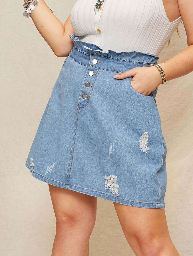 77ddabf4db Ripped Denim Skirt - ShopStyle