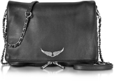 Zadig & Voltaire Black Grainy Leather Rock XL Clutch