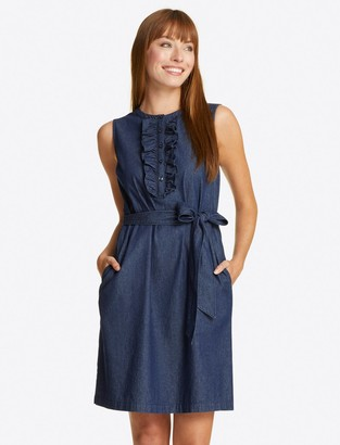 Draper James Belted Sleeveless Chambray Ruffle Shift Dress