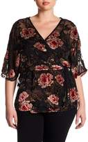 Angie Burnout Velvet Faux Wrap Shirt (Plus)