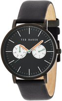 Ted Baker Men's Smart Casual Collection Custom Multifunction Sub-Eye with Contrast Detail Date Leather Strap Watch