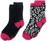Cuddl Duds Girls 4-16 2-pk. Leopard & Solid Chenille Crew Socks