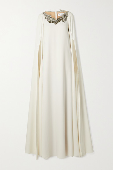 Oscar de la Renta Cape-effect Appliqued Tulle-trimmed Silk-blend Gown - Ivory