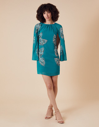 Under Armour Cara Peacock Embroidered Cape Dress Teal