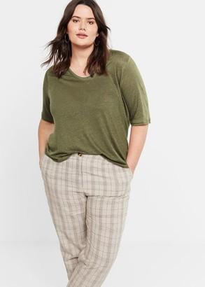 MANGO Violeta BY 100% linen t-shirt khaki - XS - Plus sizes