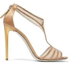 Giorgio Armani Mesh-paneled Crystal-embellished Suede Sandals