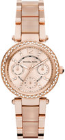 Michael Kors Women's Chronograph Mini Parker Blush and Rose Gold-Tone Stainless Steel Bracelet Watch 33mm MK6110