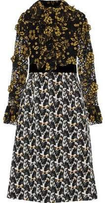 Anna Sui Velvet-trimmed Guipure Lace And Cotton-jacquard Dress