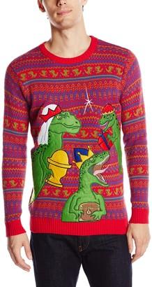 Blizzard Bay Men's Ugly Christmas Sweater Dinosaur