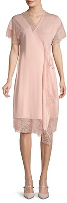 Lanvin Lace-Trim Wrap Dress