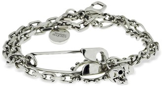 Alexander McQueen Safety Pin & Charms Chain Bracelet