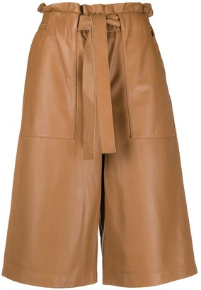 Peserico Leather Wide Leg Culottes