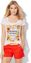 New York & Co. V-Neck Tee - Mermaid Retreat