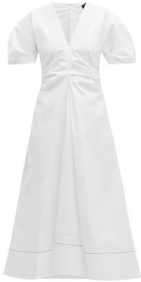Proenza Schouler Gathered Cotton-blend Midi Dress - Womens - White