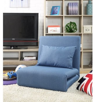 Loungie Relaxie Blue Linen Chair - Sleeper Dorm Bed Couch Lounger Sofa, 5-Position Adjustable, Convertible