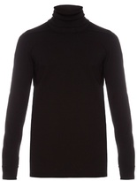 Rick Owens Roll-neck Long-sleeved Cotton Sweatshirt