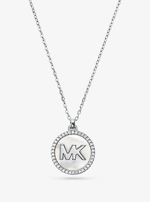 Michael Kors Precious Metal-Pleated Sterling Silver Mother-Of-Pearl Logo Necklace - Silver