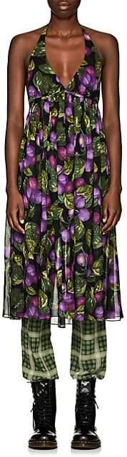 Marc Jacobs Women's Plum-Print Chiffon Halter Dress - Purple Pat