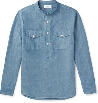 Mr P. Grandad-Collar Slub Cotton And Linen-Blend Chambray Half-Placket Shirt
