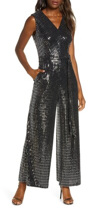 Donna Ricco Sequin Sleeveless Jumpsuit