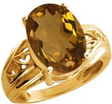 Gem Stone King 5.20 Ct Oval Quartz and 14k Yellow Gold Ring