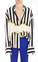 Haider Ackermann Men's Stain-Print Shawl-Collar Shirt