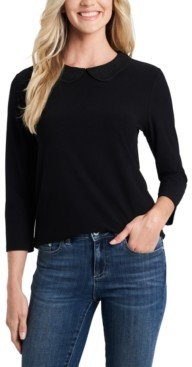 CeCe Embroidered-Collar Knit Top