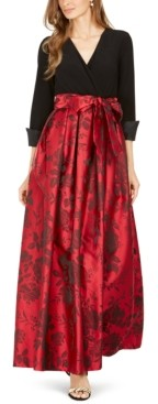 Jessica Howard Surplice Solid & Printed Ball Gown