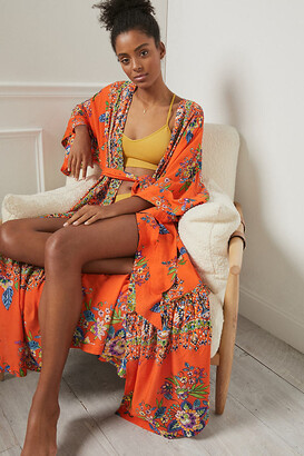 Anthropologie Emmanuelle Robe By in Orange Size M/L