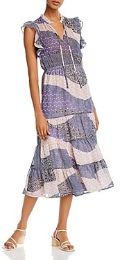 BB Dakota All Mixed Up Ruffle-Sleeve Maxi Dress
