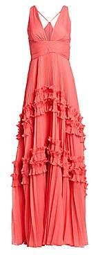 Halston Women's Sleeveless Pleated Georgette Gown