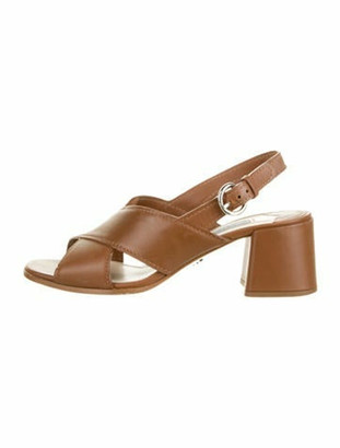 Prada Leather Crossover Sandals Brown