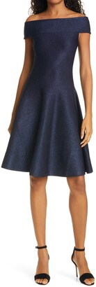 Ted Baker Shelbiy Off the Shoulder Sparkle Knit Skater Dress